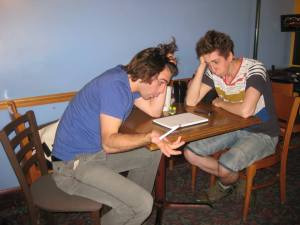 """This is what Ben and I looked like when we finally got together and revisited these lists.  """"What is this crap?!"""" I exclaim.  """"I dunno, you're the one that wrote it,"""" Ben thinks to himself."""